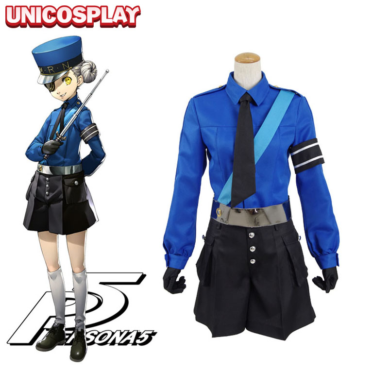 Persona 5 Caroline Cosplay Costume School Uniform Women's Party Suits Fancy Dress Blue Shirt Black Shorts with Hat Eye-mask