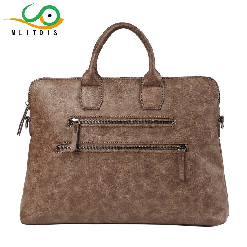 ФОТО MLITDIS Mens Leather Briefcase Vintage Messenger Shoulder 14inch Laptop Bag For Men's Retro Messenger Bag Casual Bags For Male