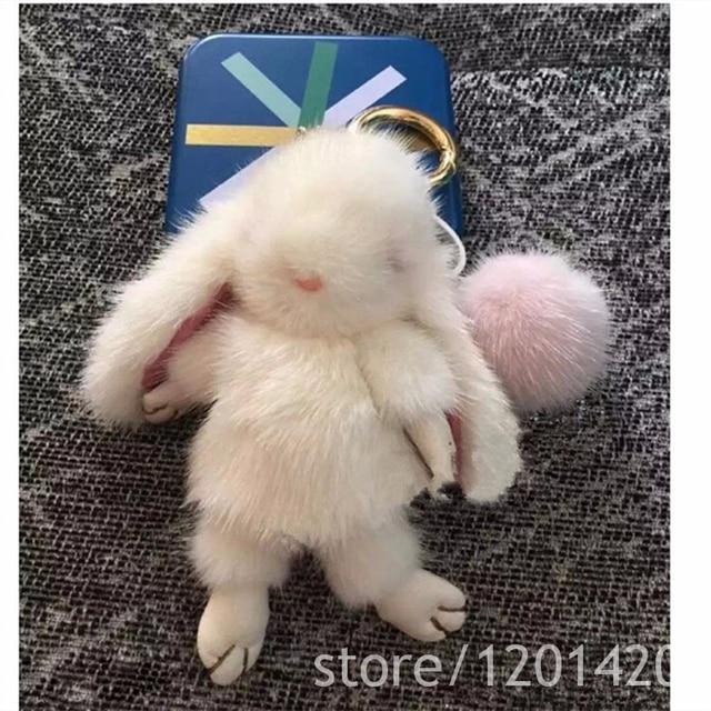 Mink Fur Bunny Bag Charm Luxury Mink Puffs Fluffy Cute Purse Charm Handbag Accessories Bugs Charm Wallet Charm Bunny Pendats