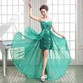 2017 New women's V-neck Formal 2 in 1 short design low-high plus size Party Prom bridesmaid dress vestido