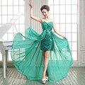 2017 Nuevo de las mujeres Con Cuello En V Formal 2 en 1 diseño corto bajo-alto más el tamaño Del Partido de Baile vestido de dama de honor vestido