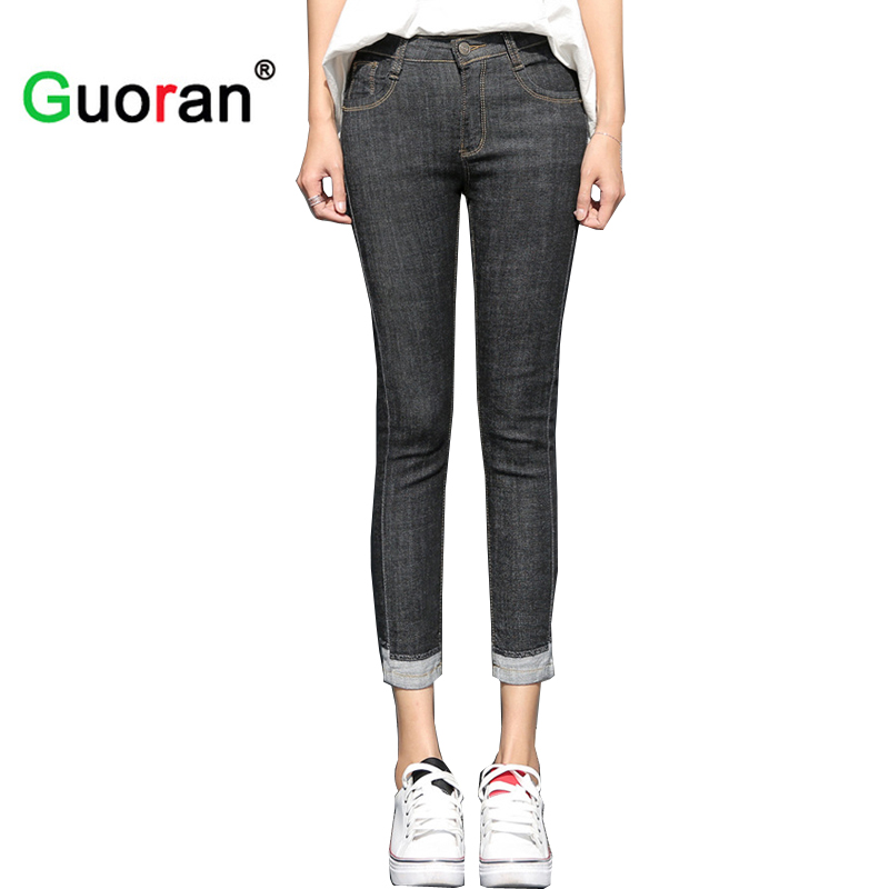 {Guoran} 2017 summer new women denim jeans pants ankle length capris jeans trousers ladies plus size skinny femme ripped jeans plus size side stripe wide leg blue capris jeans 4xl 7xl oversized tassel irregular fringe ankle length denim pants