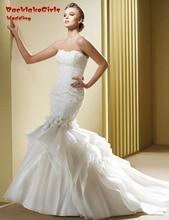 BacklakeGirls Floor-length Sleeveless Beaded Organza Flowers Custom Made Mermaid Wedding Dresses 2017 Bride Gown