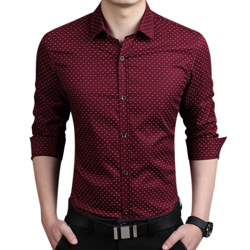 Men Slim Fit Long Sleeve Shirt Polka Dot Casual Business Shirt Tops Plus Size 5XL KNG88