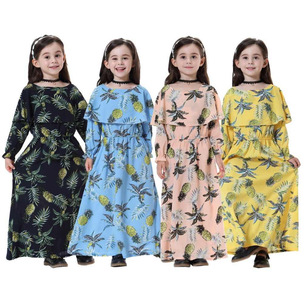 d368b57ea86 Fashion Muslim Children Abaya Print Girl Maxi Dress Long Robe Gowns Kimono  Cute Jubah Ramadan Middle