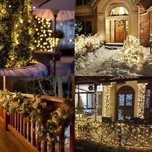 Solar LED Copper String Light Eight Function Christmas Garden Lawn Party Indoor Outdoor Home Decorati