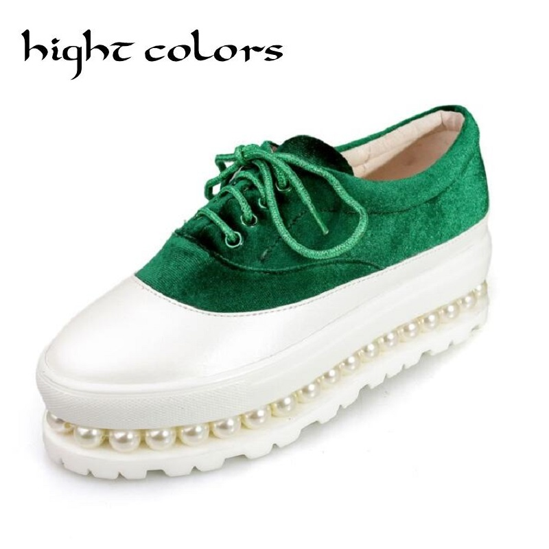 ФОТО High Colors Women's Lace Up Creepers Oxford High Heel Pearl Platform Shoes White Round Toe Flock Patchwork Wedge Platform Heels