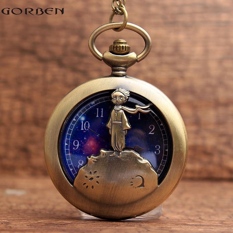 Retro Antique Μπρονζέ Μικρή πριγκίπισσα ρολόι τσέπης Vintage Flip Fob ρολόι χαλαζία με αλυσίδα κολιέ κρεμαστό δώρο για παιδιά αγόρι
