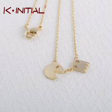 Kinitial Pac Man Necklace Gold tone Costume Jewelry for School Gamers long chain necklace women jewelry party gift(China)