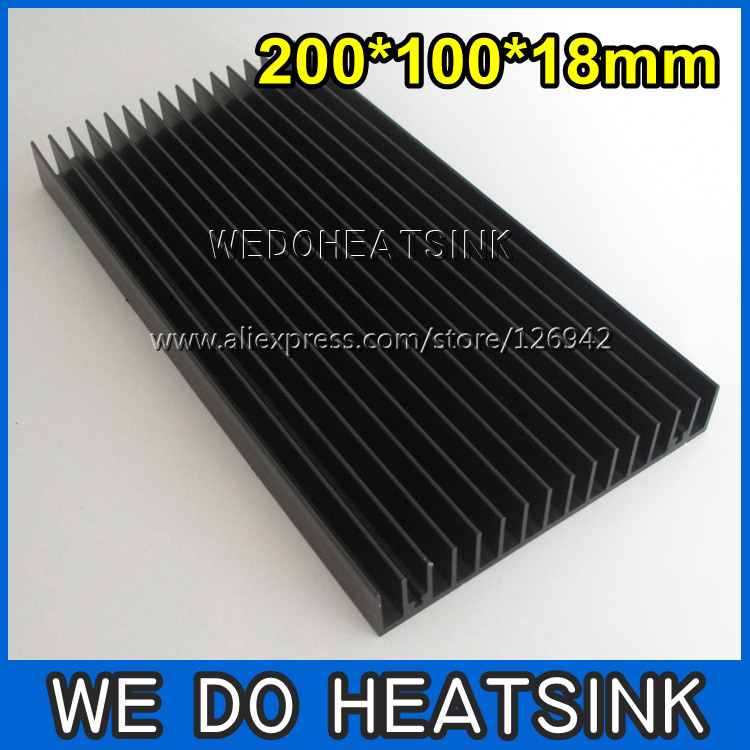 Free Shipping 2pcs 200x100x18mm Large Black Anodized Aluminum Heatsink Cooler For LED Cooling free shipping super wide u shape aluminum anodized profile for led strips with cover and end caps for dual row led strip