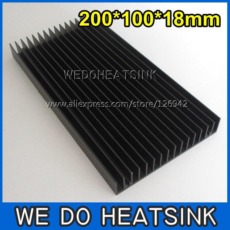 Free Shipping 2pcs 200x100x18mm Large Black Anodized Aluminum Heatsink Cooler For LED Cooling