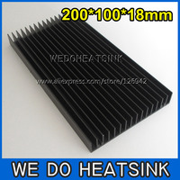 Free Shipping 2pcs 200x100x18mm Large Black Anodized Aluminum Heatsink Cooler For LED Cooling