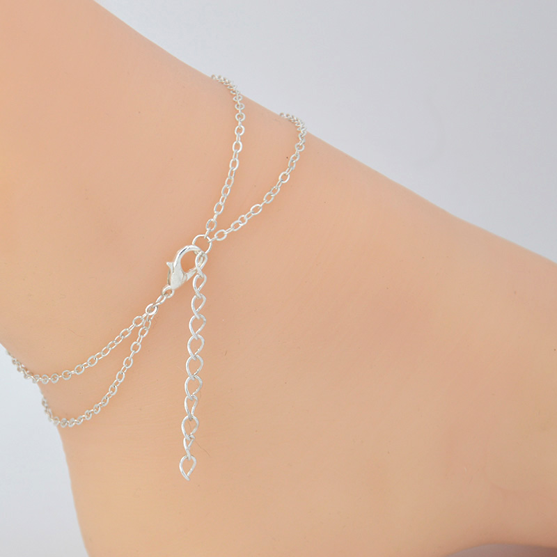 Boho Double Layer Ankle Bracelet Anklets For Women Foot Jewellery Leg Chain Bracelet Summer Beach Barefoot Sandals Jewelry