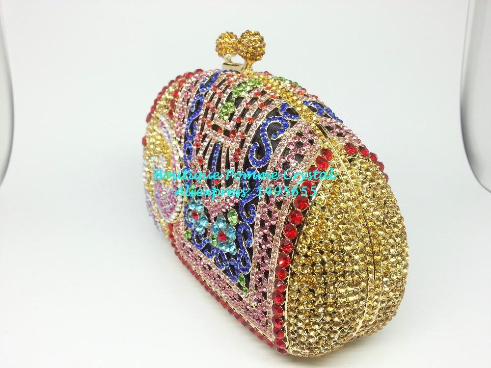Boutique De FGG Multi Crystal Women Elephant Evening Purse Metal Minaudiere Handbag Bridal Clutch Wedding Party Diamond Bag