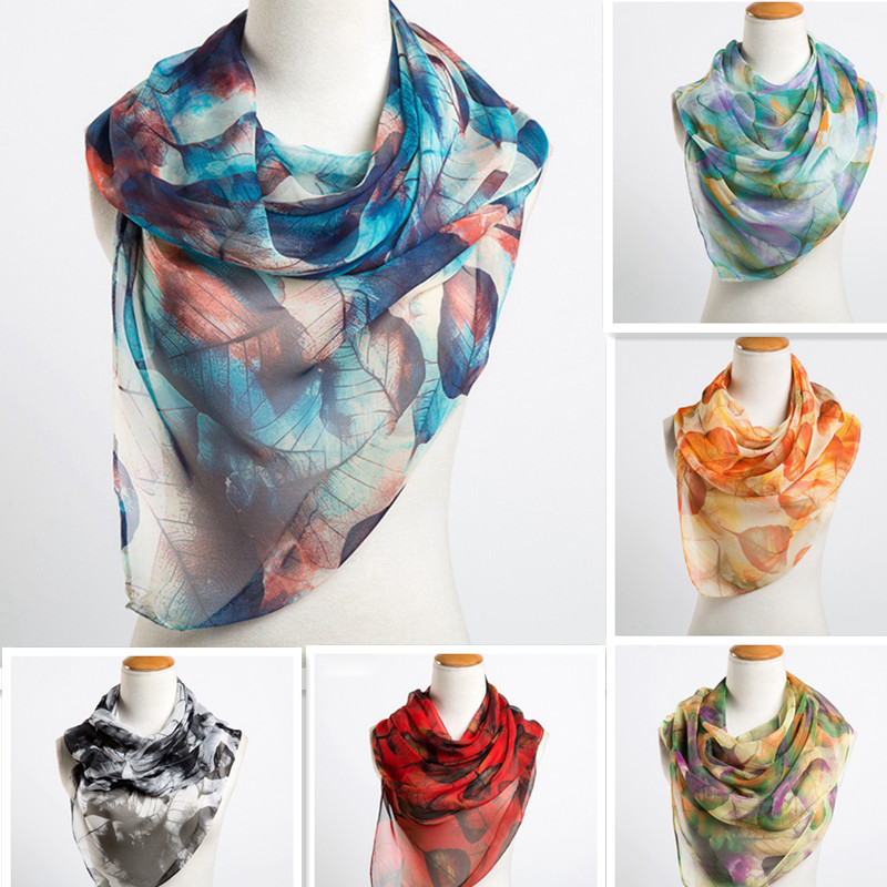 2018 Fashion   Scarf   Luxury Brand Women Silk   Scarf   female large leaves Painting design   Scarves   Shawls soft hijab   wrap   160*50 CM