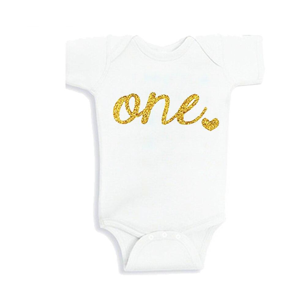 Bébé filles premier anniversaire unisexe nouveau-né bébé vêtements un an bébé chemise tenue f brillant or un ou 0-12 mois
