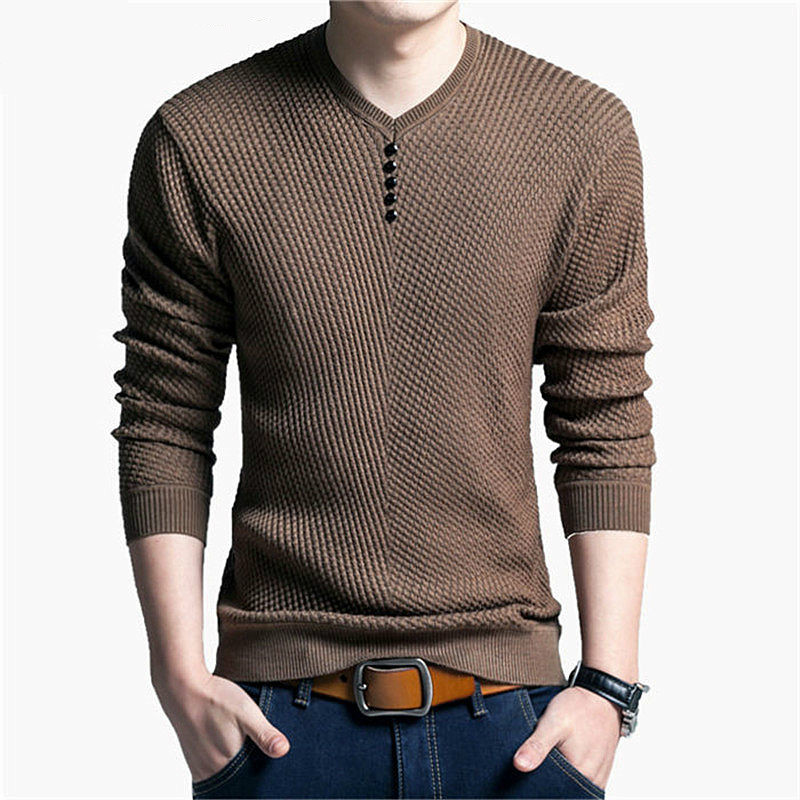 Men Sweater Cashmere Long-Sleeve Wool V-Neck Casual High-Quality Brand Solid Hot-Sale