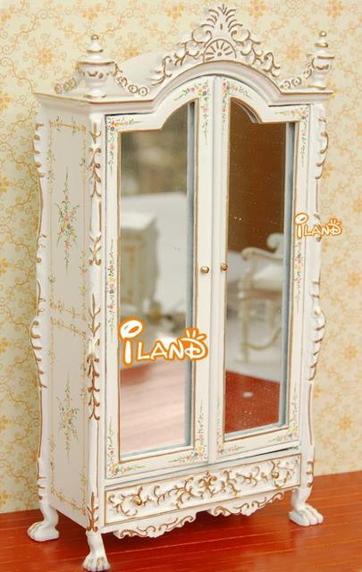 Doll house quality mini furniture model white gold double open with mirror wardrobe
