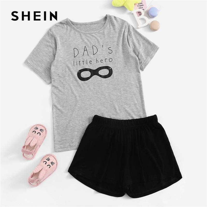 SHEIN Kiddie Graphic And Letter Print Tee With Shorts Boys Pajama Set 2019 Summer Short Sleeve Casual Kids Nightwear Suit Sets graphic print zip up side dress