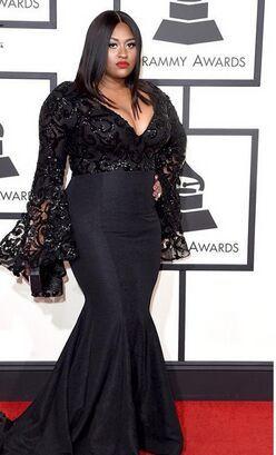 2016 Grammy Awards Plus Size Jazmine Sullivan Sexy Lace Preto Sereia Vestidos de Celebridades Vestido de Noite Famosos Vestidos No Tapete Vermelho