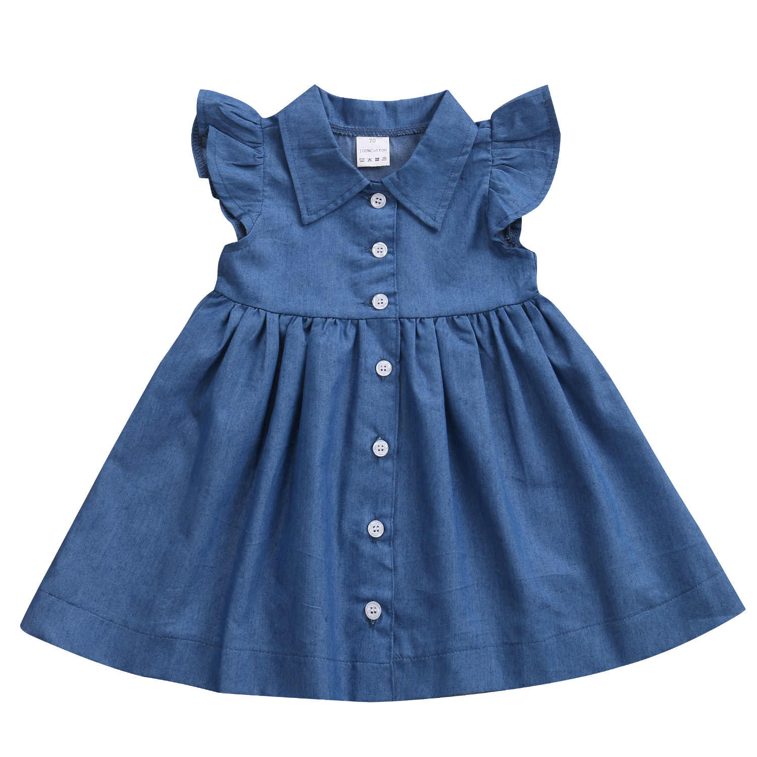 0846f52735 baby girl denim dress Toddler Baby Kids Girls Denim Princess Summer  Sundress Party casual fashion Dress