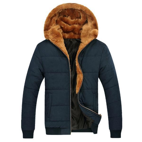 Russian Winter Men Thick Fur Down Coats 2016 Male Warm Outerwear Big Size M-3XL Zipper Fly Man Ourdoor Hooded Parka Khaki / Blue
