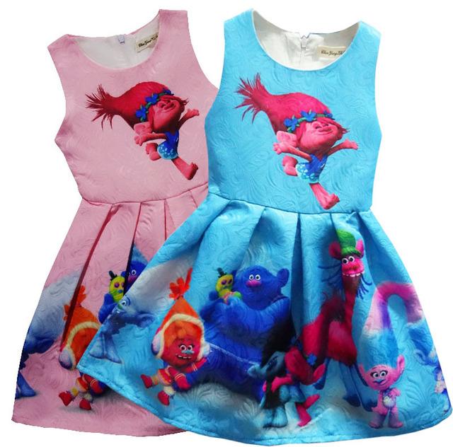 2017 Bebé vestido de la muchacha de TROLLS magia de dibujos animados de verano vestido de algodón niño niños ropa para niños ropa niños del vestido de los bebés ropa H622