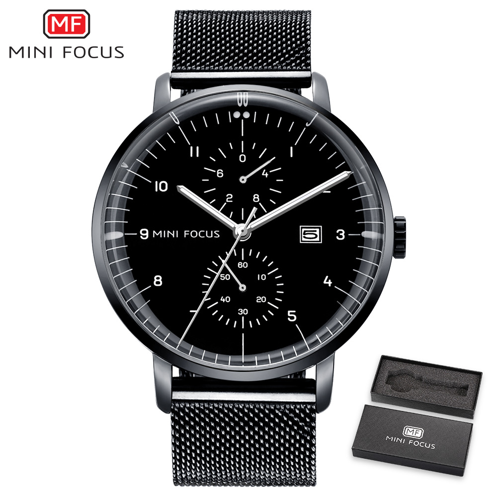 MINI FOCUS Fashion Classic Black Watch Men Quartz Ultra Thin Mesh Strap Arabic Number Calendar Waterproof Wristwatch+ Gift Box