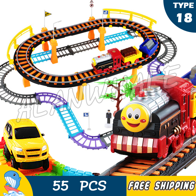 55pcs alanwhale multi layer thomas and friends electric rail car track diecast for kids trains