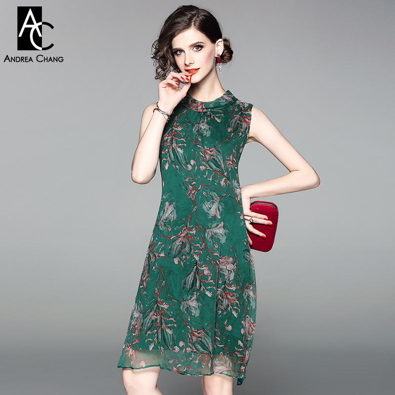 spring summer woman dress pink floral pattern print green silk dress bow collar ribbon fashion loose knee length silk dress