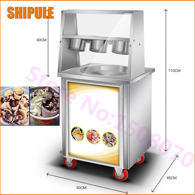 SHIPULE fry ice pan machine fried ice cream roll machine single round pan ice cream roll maker with 3 boxes 2017 single pan fried ice cream roll machine economical model square pan fried ice machine fry yoghourt machine