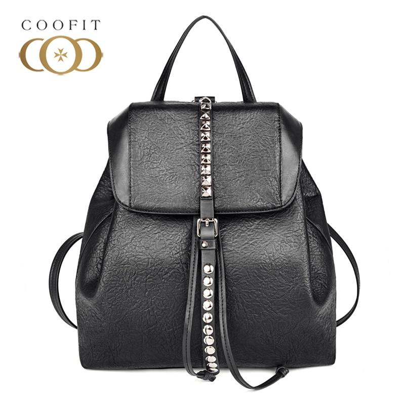 2018 Brand New Design Rivet Drawstring Backpack Women Lady Girls Teenagers PU Leather School Bagpack Female Satchels Flap Cover