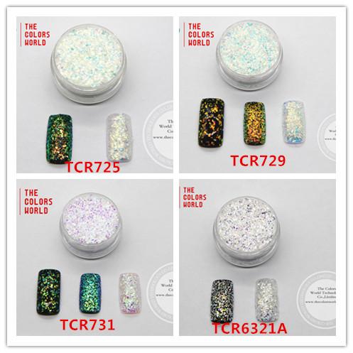TCRT-003 Iridescent Rainbow Camaleón Efecto Mágico de Color Hoja de Mylar Copos de Brillo para el arte del clavo, arte decoración y otros DIY