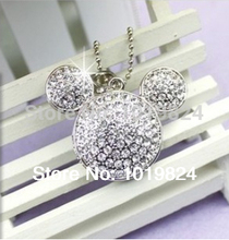 USB Flash Drive Crystal Mickey's head pendant diamond jewelry 8GB16GB USB 2.0 Flash Memory Stick Drive Thumb/Car/Pen S342