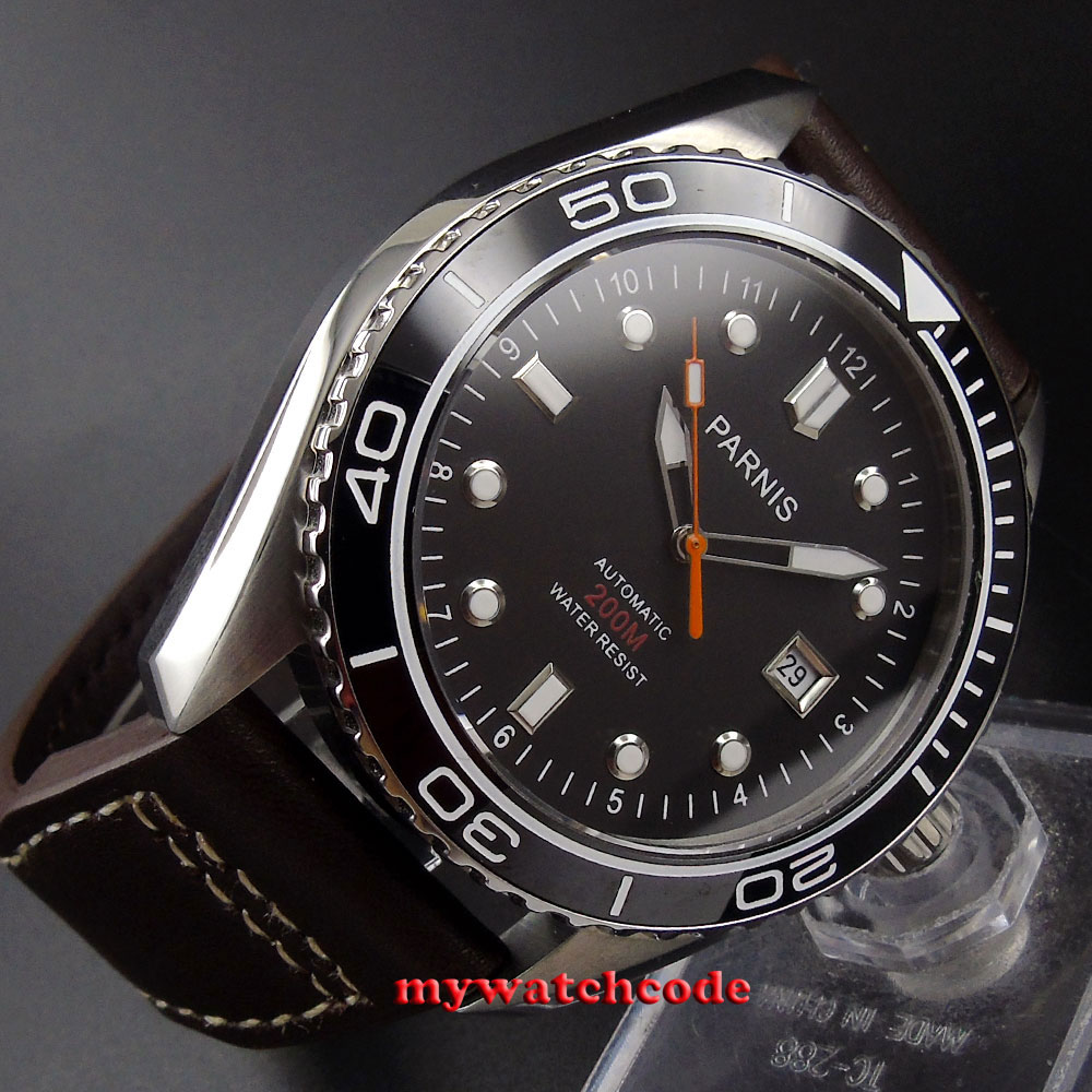 45mm Parnis black dial Ceramic Bezel 21 jewels miyota automatic mens Watch P671U все цены