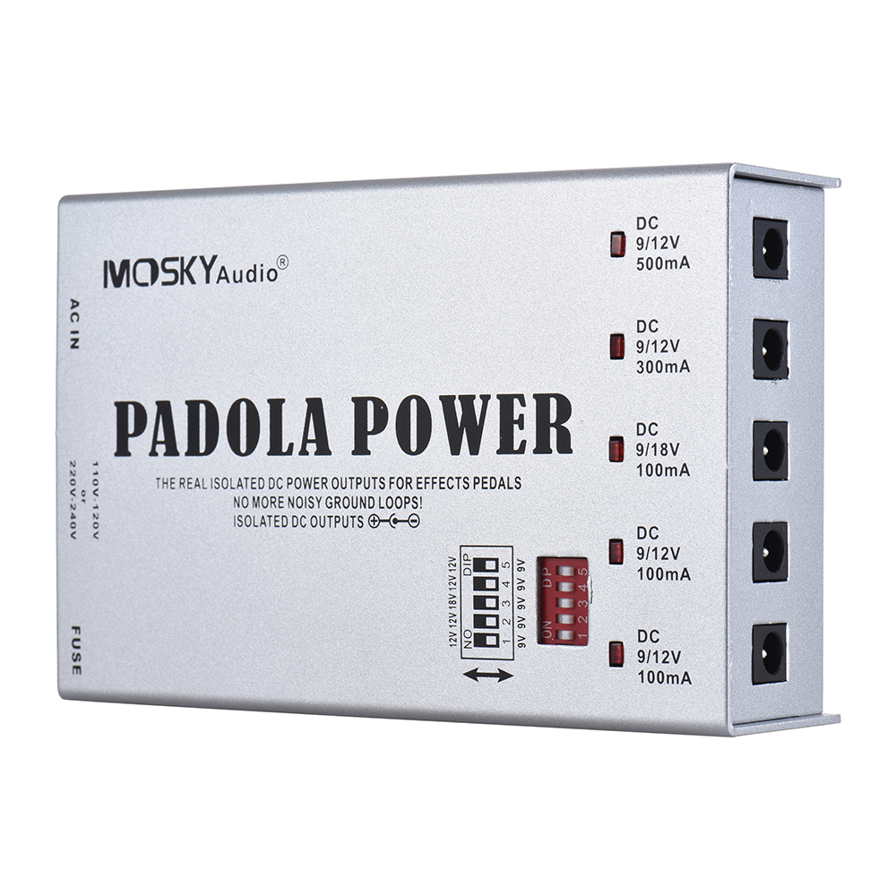 Mosky PADOLA Power Guitar Effect Pedal Power Supply for DC 9V 12V 18V 5 Isolated Outputs Guitar Effect Power Supply Station