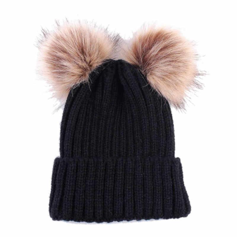 2019 ファッション帽子新生児かわいい冬毛玉帽子種類ガールズボーイズキッズニットウールヘミング帽子キャップ