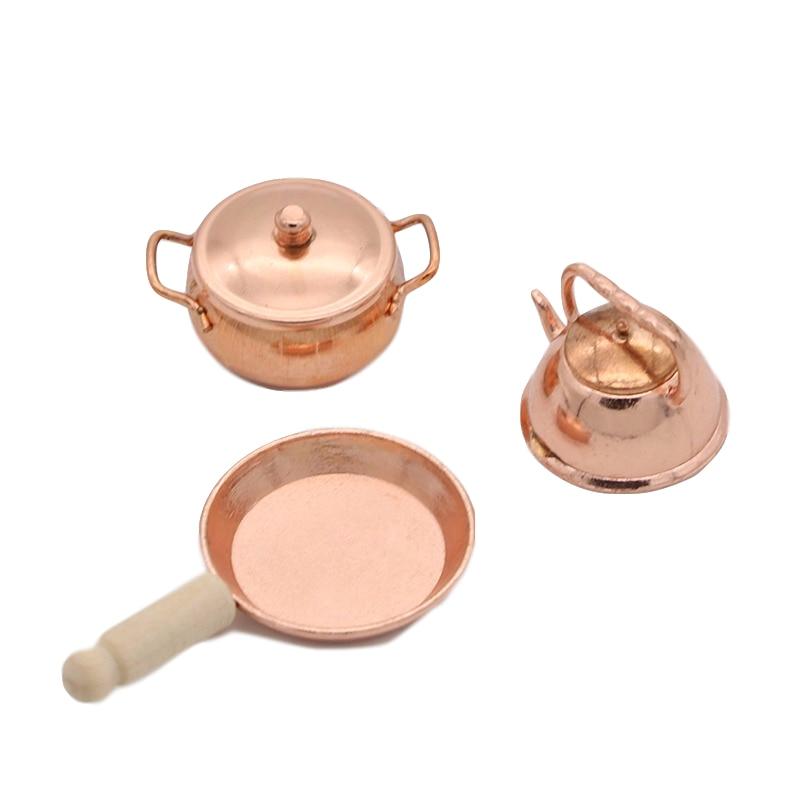 4Pcs 1:12 Dollhouse Miniature Metal Mini Pot Set Doll House Kitchen FurniturR/_yk