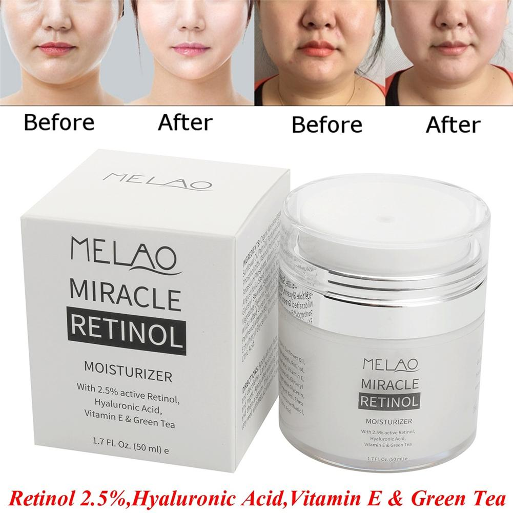 MELAO 2.5% Retinol Moisturizer Cream Hyaluronic Acid Anti Aging And Reduces Wrinkles And Fine Lines Day And Night Retinol Cream