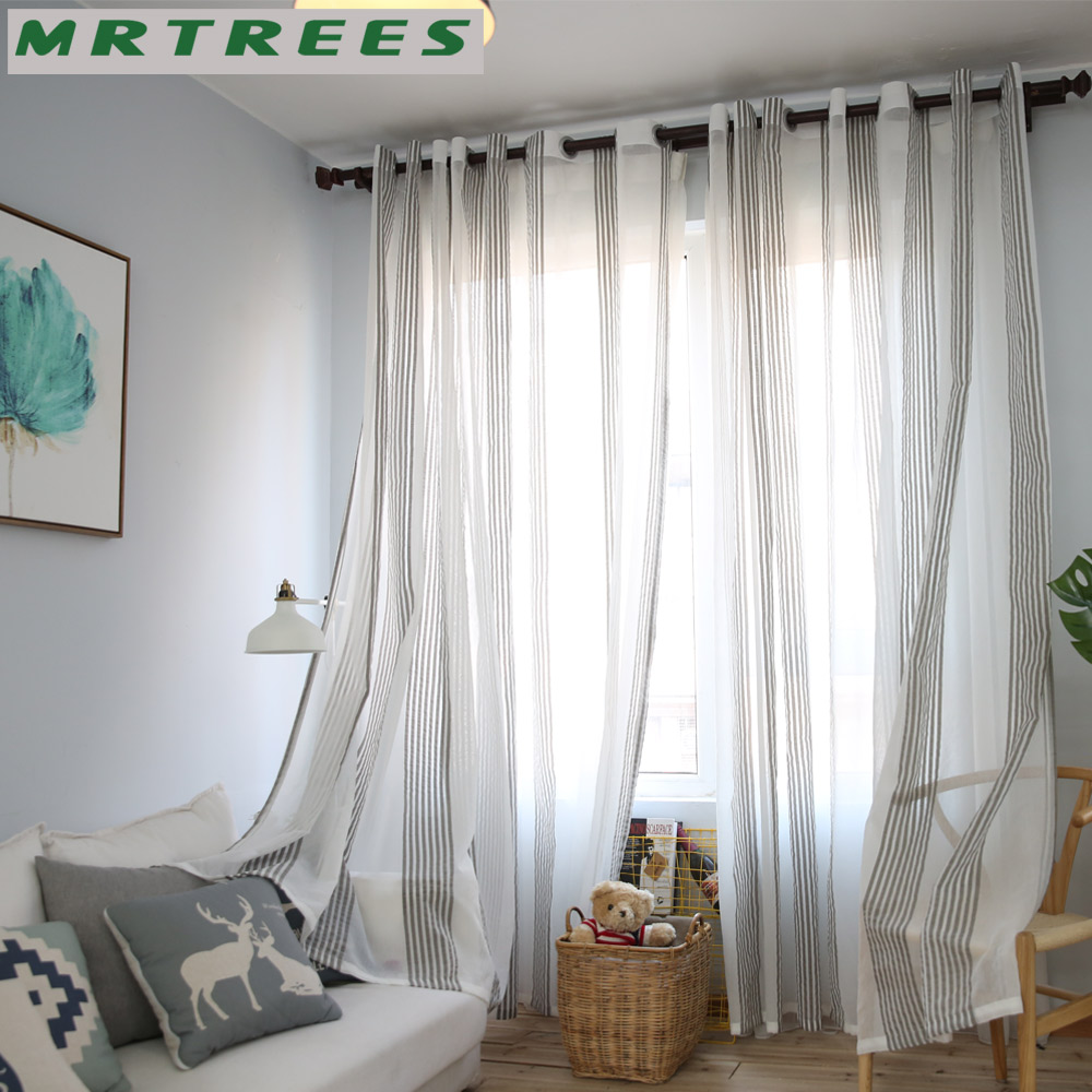 MRTREES Sheer Curtains Tulle Window Curtains for Living Room Bedroom ...
