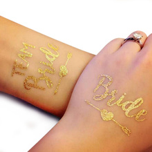 10pcs Bride Bridesmaid Tribe Squad Bachelorette Party Team Temporary Tattoo Hen Night Golden Sticker Wedding Supplie
