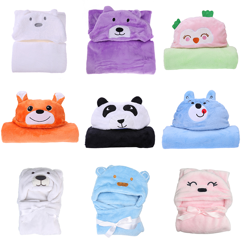 Baby Bath Robe Windshield Bath Towel Blanket Infant Toddler Cute Animal Cartoon Comfortable Coral Fleece Soft Hooded Cloak