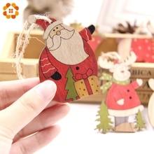 5pcs Multi Style Printed Christmas Wooden Pendants Ornaments Wood Craft Xmas Tree Ornament