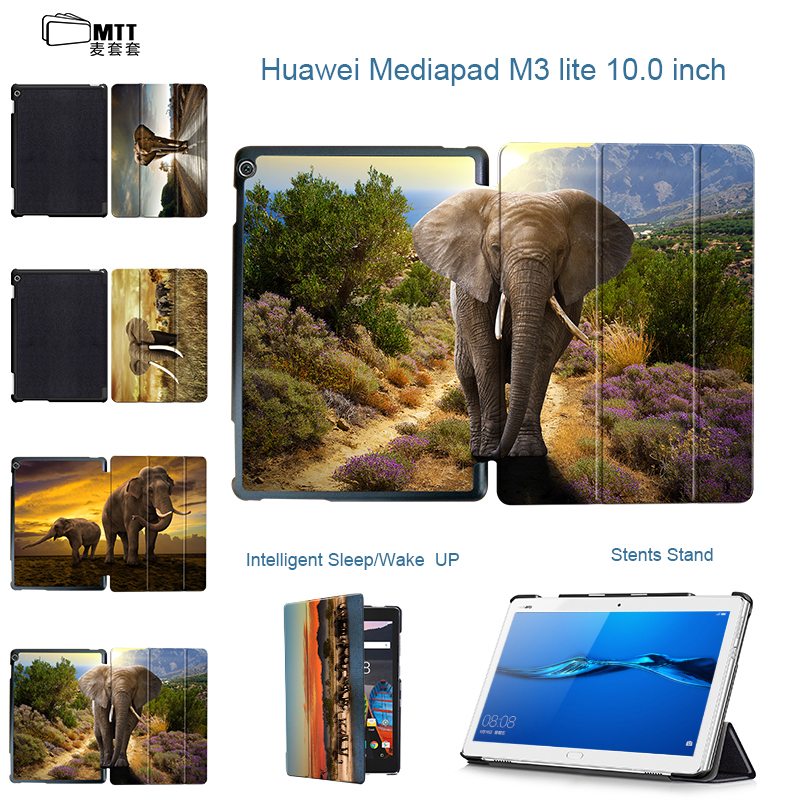 MTT Print Elephant Leather Case For Huawei MediaPad M3 Lite 10 10.1 BAH-W09 BAH-AL00 Smart Cover Funda Tablet Shell Sleep Wake smart ultra stand cover case for 2017 huawei mediapad m3 lite 10 tablet for bah w09 bah al00 10 tablet free gift