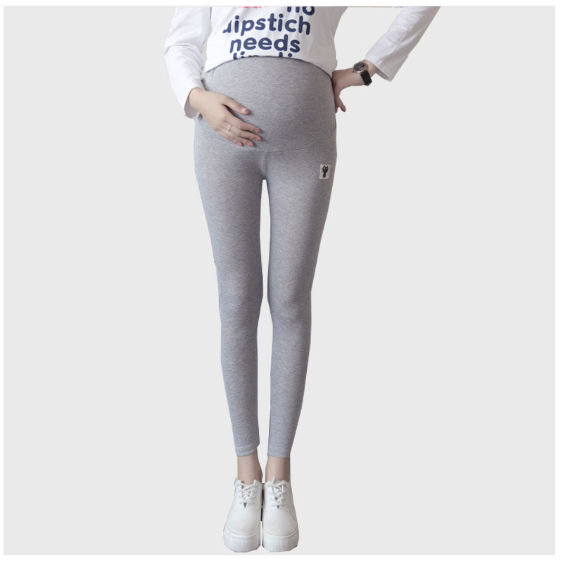 42f811b5348f7 High Quality Elastic Waist Stretch Leggings Solid Color Patch Cat Designs  Knitted Pants For Pregnant Women Maternity Clothes