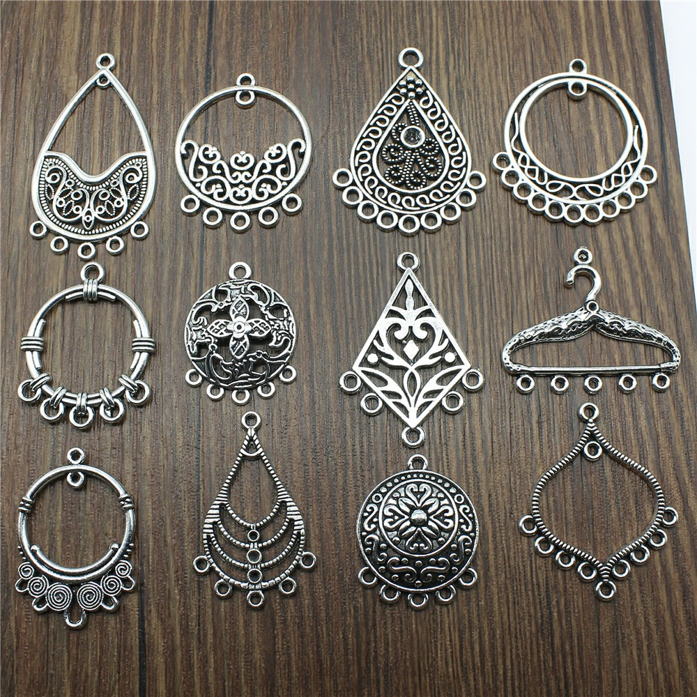 10pcs/lot Earring Connector Charms Antique Silver Color Earring Charms Connector For Jewelry Making