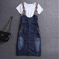 Female Plus size 4XL denim strap dress Summer Ladies Suspender Jeans dresses Women braces Rompers Sundress 032701