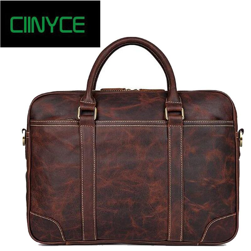 38c019cea49 Heren retro echt koe lederen Business Office 15 inch laptop geval ...