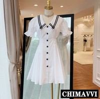 2019 Summer New College Wind Girl Striped Collar Slim Short A line Dress Women Students Sweet White/black Shirt Dresses
