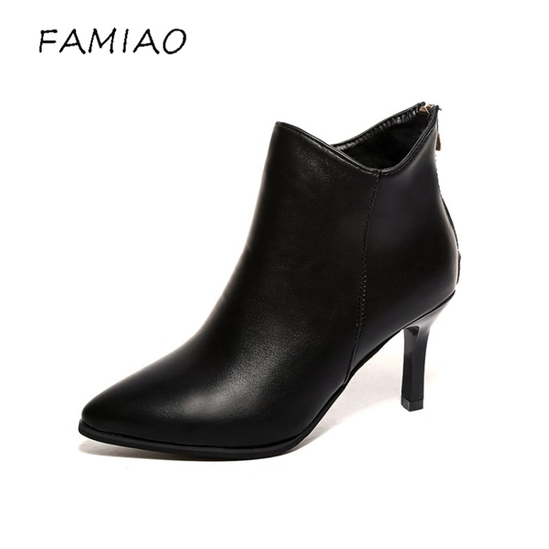 FAMIAO women pumps high heels boots shoes woman pointed toe wedding party dress stiletto ladies short ankle boots 2017 cable knit high neck sweater cardigan